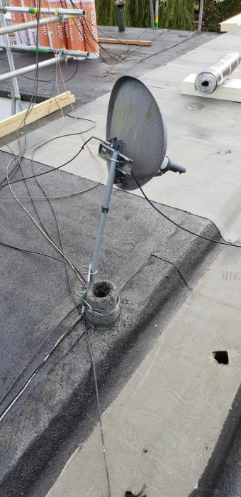 One way of lashing a pole and bracket to hold a dish up, I w…