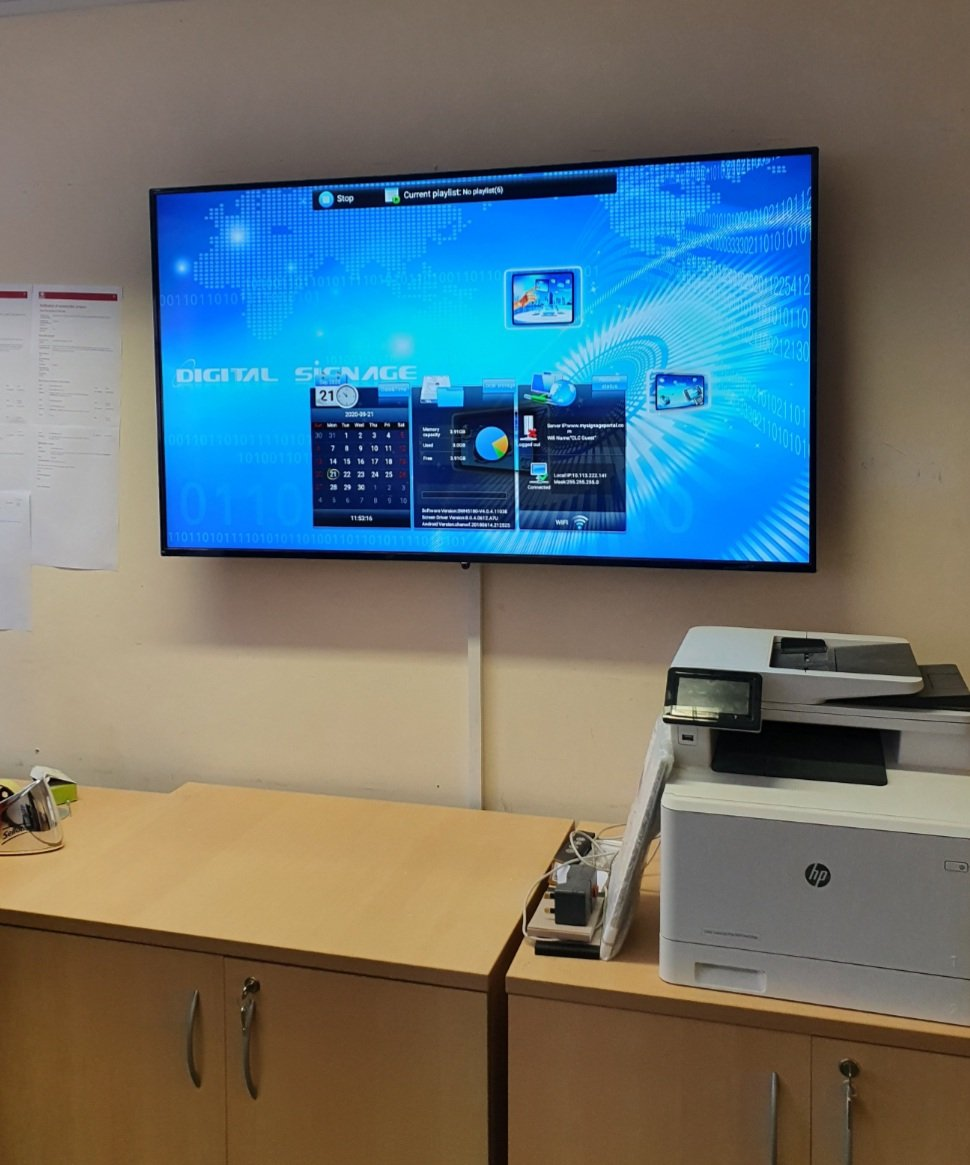 Installation of a 55″ commercial monitor to allow daily work…
